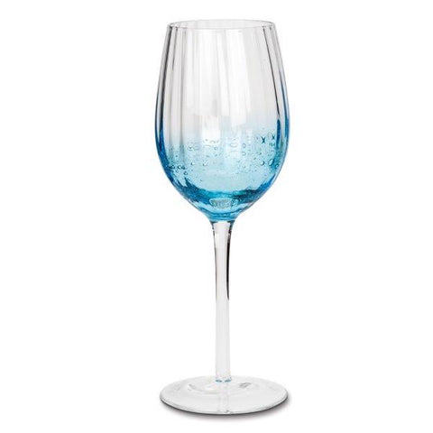 White wine glass with blue bubbles
