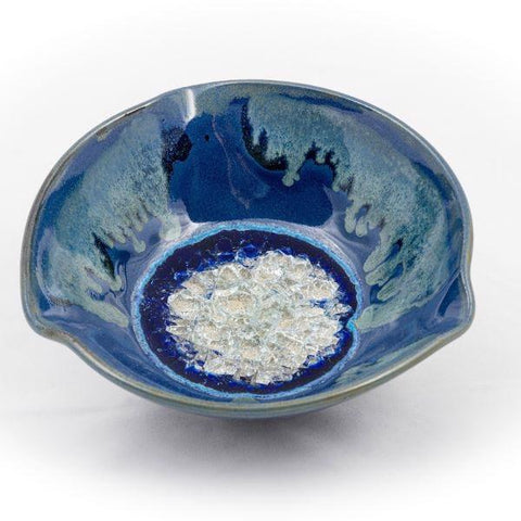 Ceramic bowl with geode style fused glass blue large