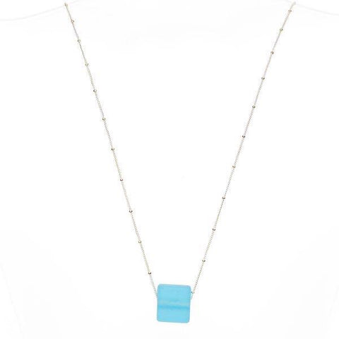 Glass cube necklace sterling aqua