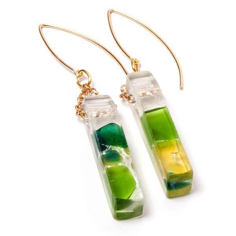 Mosaic upcycled glass gold wine earrings
