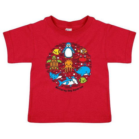 Toddler sea collage short sleeve tee