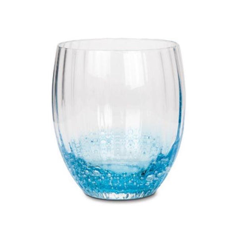 Glass tumbler with blue bubbles