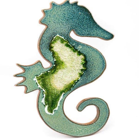 Ceramic seahorse trivet with geode style fused glass