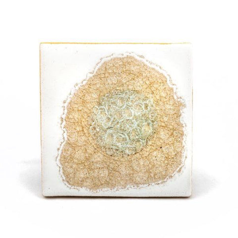 Ceramic coaster with geode style fused glass white