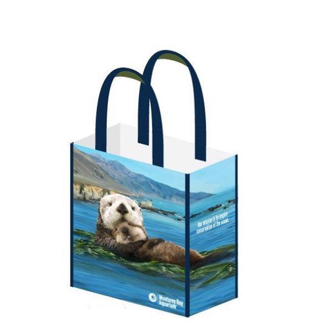 Recycled sea otter tote bag