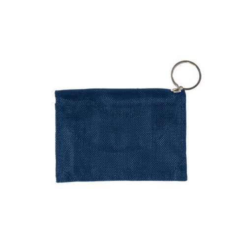 Repurposed netting navy wallet with keyring