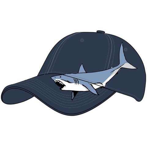 Adult embroidered white shark hat