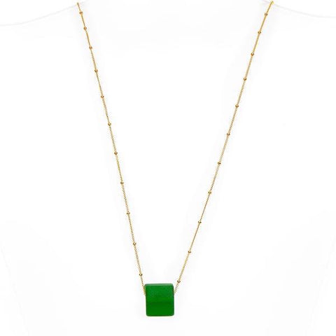 Upcycled glass cube gold pine necklace