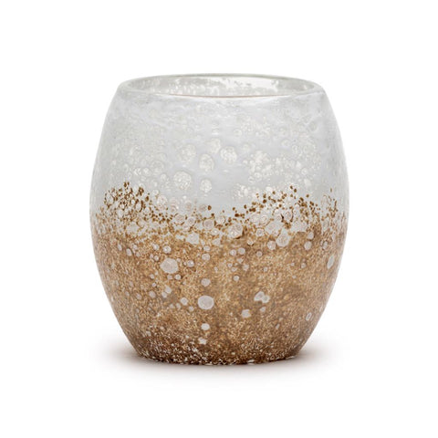 Artisanal hand blown glass white sandstone candle