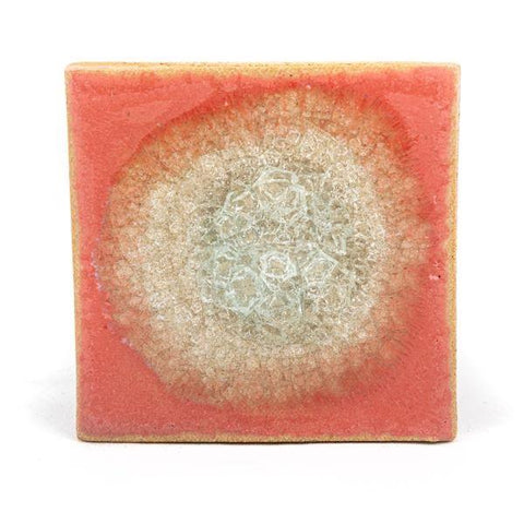 Ceramic coaster with geode style fused glass coral