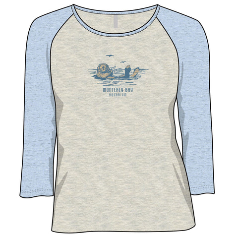 Women's sea otter 3/4 sleeve raglan tee