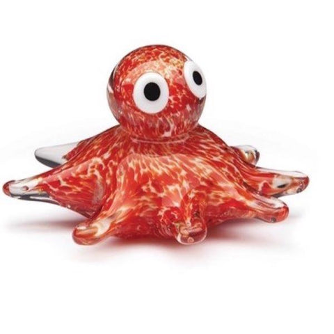 Glass figurine octopus glow orange