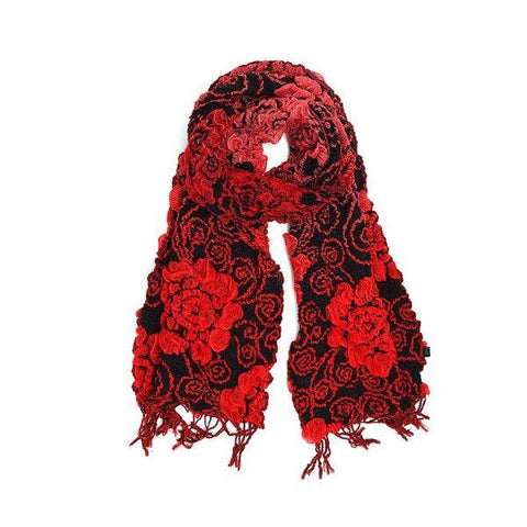 Red bamboo fiber scarf