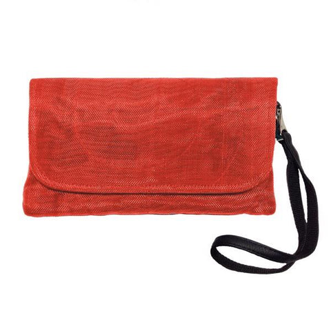 Repurposed netting persimmon travel clutch