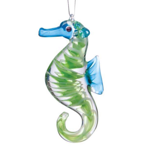 Glass ornament green seahorse