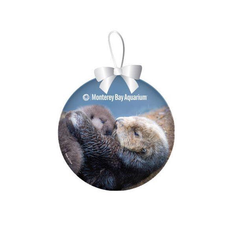 Sea otter mom & pup ornament