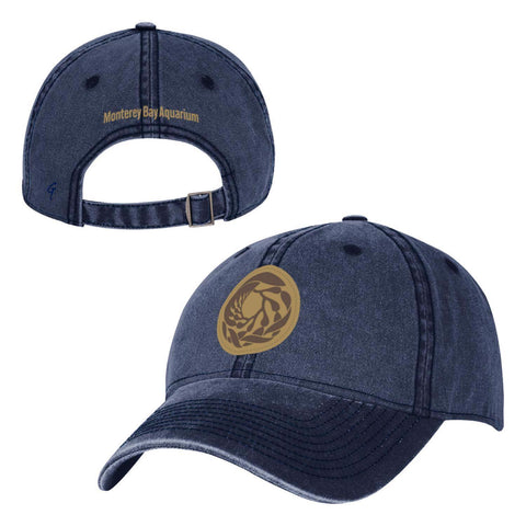 Adult navy faux leather logo baseball hat