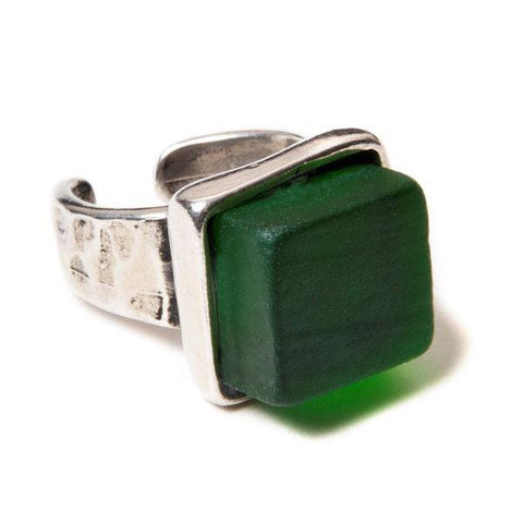 Upcycled glass cube pewter pine ring