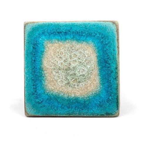 Ceramic coaster with geode style fused glass turquoise