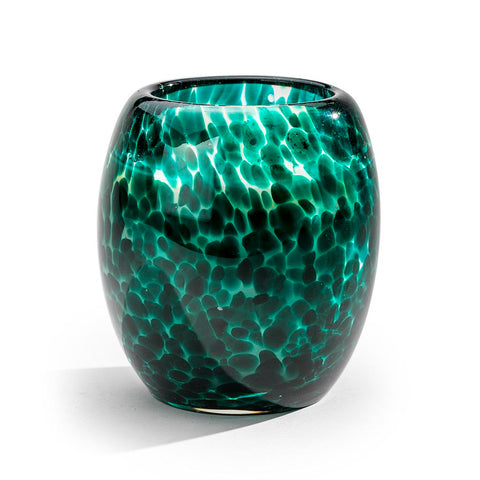 Artisanal hand blown glass teal candle