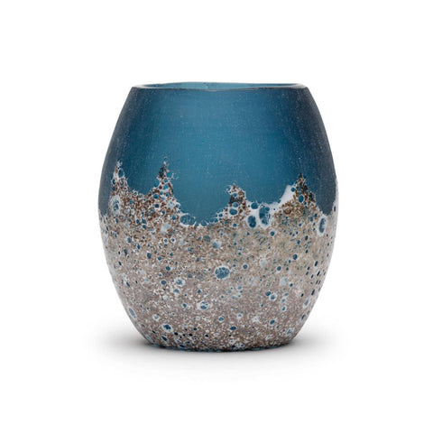 Artisanal hand blown glass blue sanstone candle