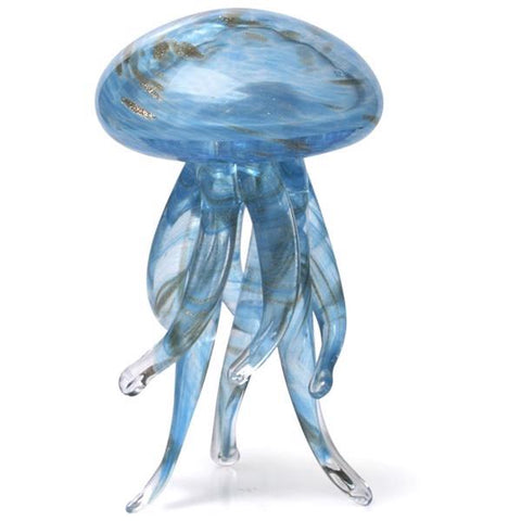 Glass figurine standing jelly glow blue gold