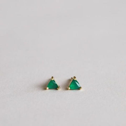 Mini gem stud earrings green onyx