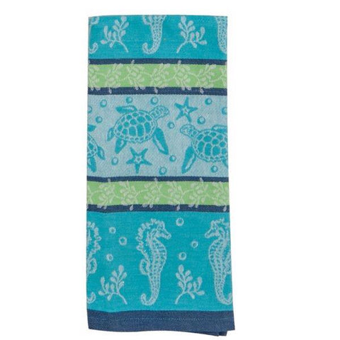 Sea life jacquard tea towel