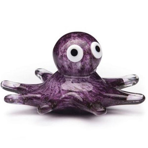 Glass figurine octopus glow purple