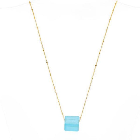 Upcycled glass cube gold aqua necklace