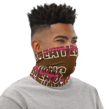 Load image into Gallery viewer, Brown Pink Script Neck Gaiter
