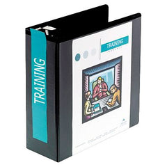 D-Ring Vinyl View Binder, 4in Capacity, Black