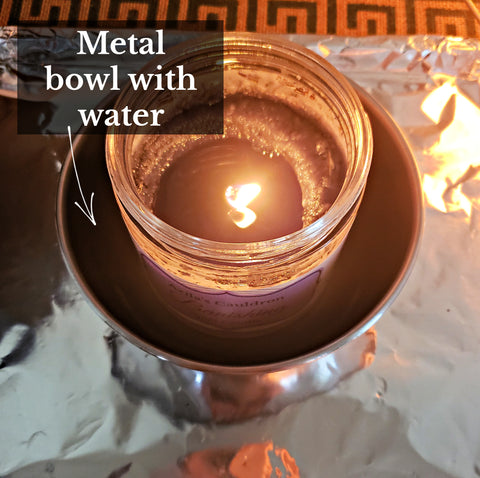 Spell Candle burning inside of a bowl of water