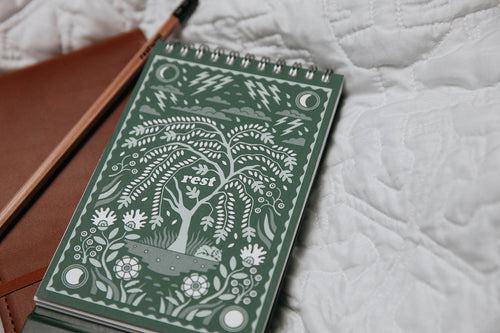 Rest Journaling Prompt, Flip Journal, and pencil