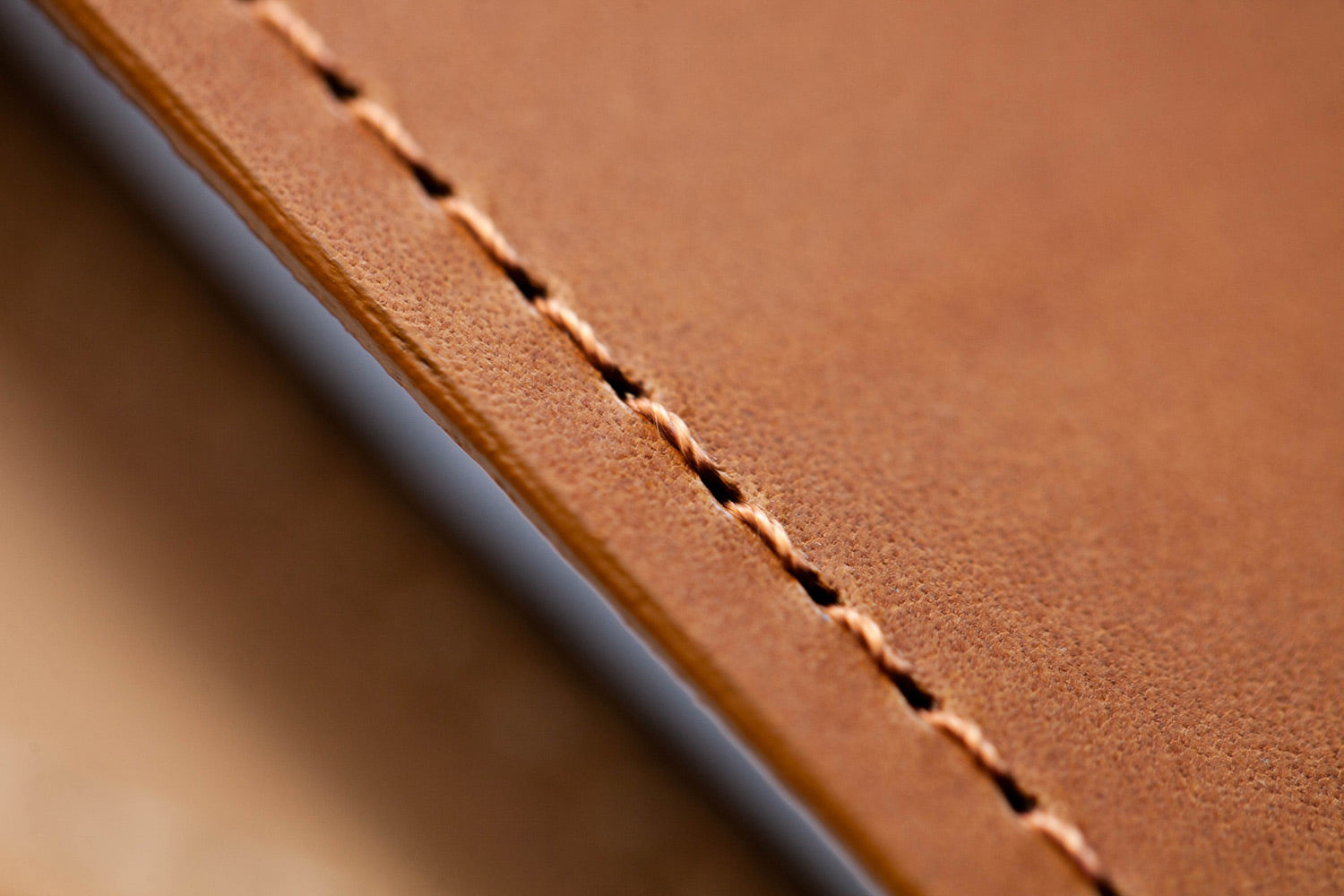 Detail shot of leather stitching
