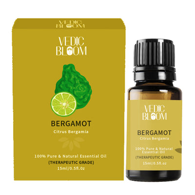 Vedic Bloom Bergamot Essential Oil Monocarton and Bottle