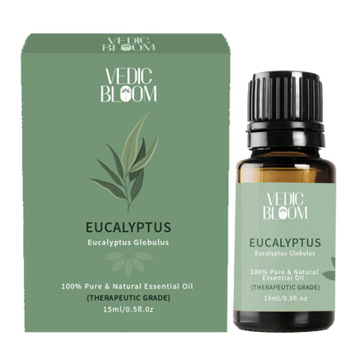 Vedic Bloom Eucalyptus Essential Oil Monocatron & Bottle