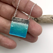 Load and play video in Gallery viewer, Square Beach Necklace - Aqua Blue Green Glass Enamel on Sterling Silver