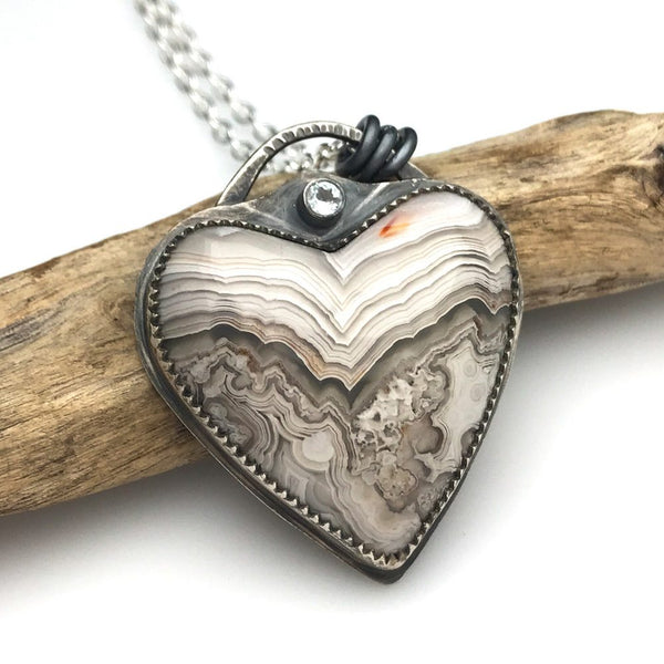 Heart Necklace - Rincon Lace Agate
