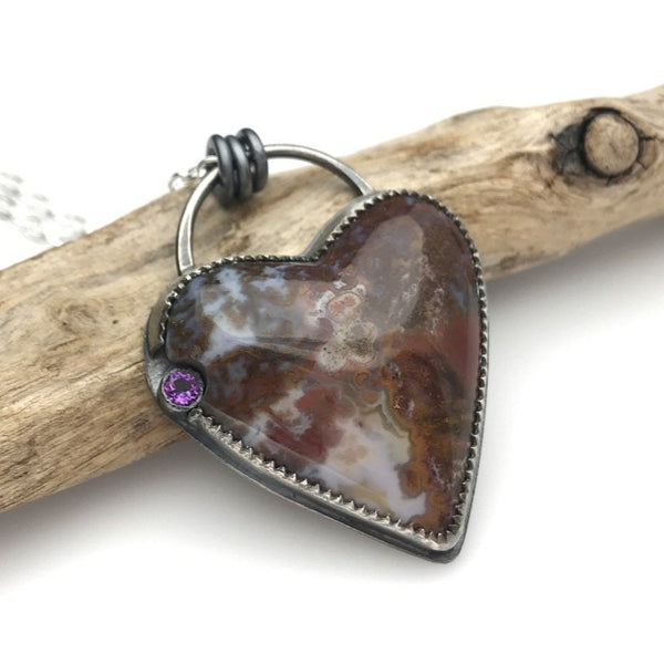 Heart Necklace - Moss Agate & Amethyst