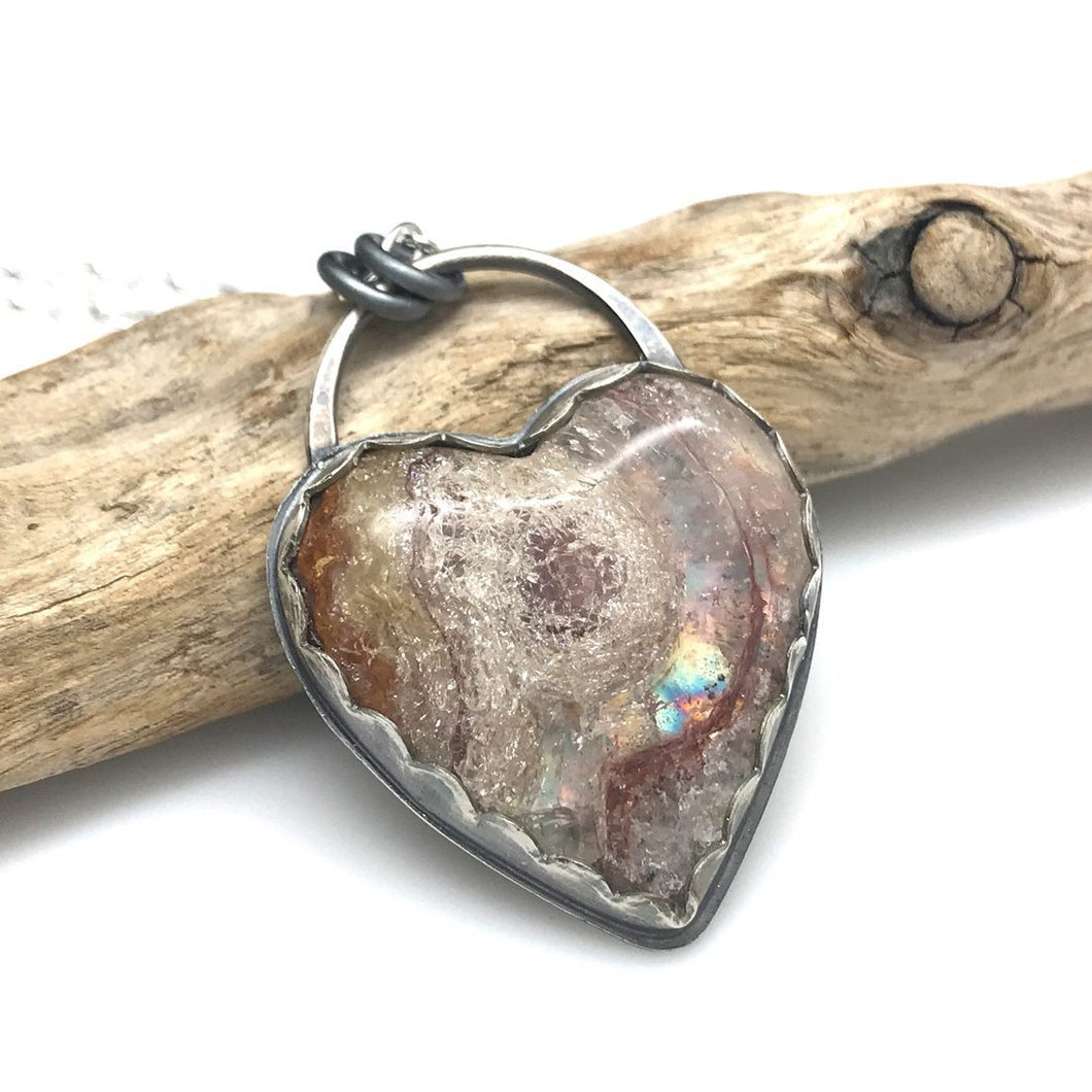 Heart Necklace - Wildfire Opal