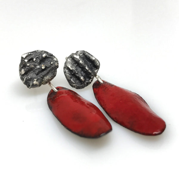 Red Enamel Earrings - Red Is For Passion