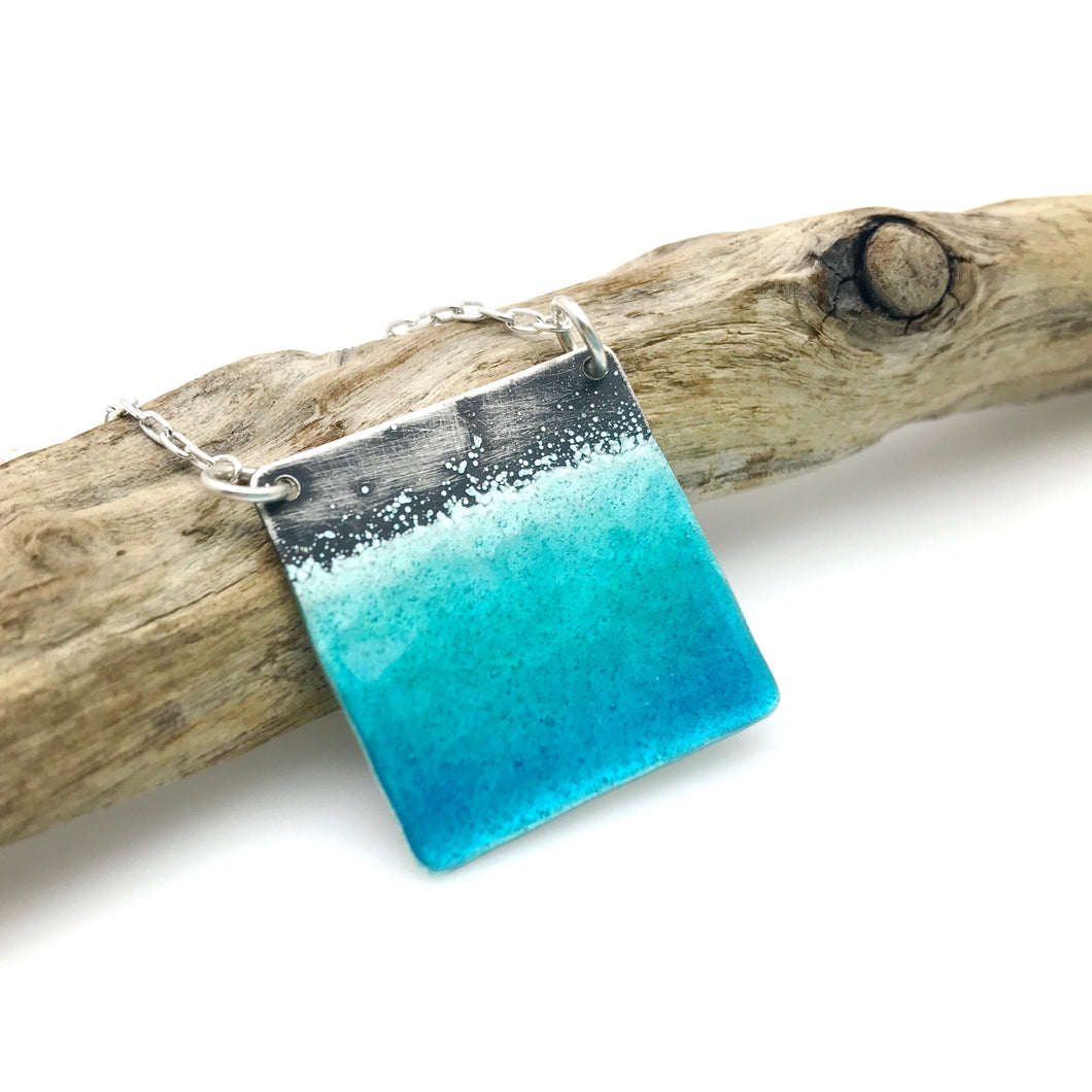 Square Beach Necklace - Aqua Blue Green Glass Enamel on Sterling Silver