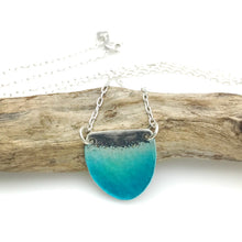 Load image into Gallery viewer, Small Ocean Necklace - Aqua Blue Green Glass Enamel on Sterling Silver