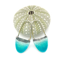 Load image into Gallery viewer, Long Beach Earrings - Aqua Blue Green - Glass Enamel & Sterling Silver