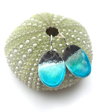Load image into Gallery viewer, Beach earrings - aqua blue green glass enamel water effect on silver ovals, ocean jewelry, tropical sea, wave, nautical