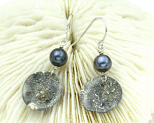 Load image into Gallery viewer, Modern wabi sabi earrings with lustrous freshwater pearls and reticulated sterling silver - unique, lightweight, minimalist, dark gray