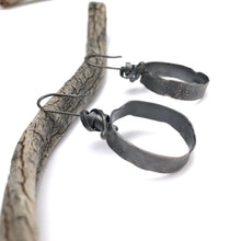 Load image into Gallery viewer, Oxidized silver hoop earrings - rustic silver earrings - unique black hoops - modern hoop earrings - lightweight hammered organic style