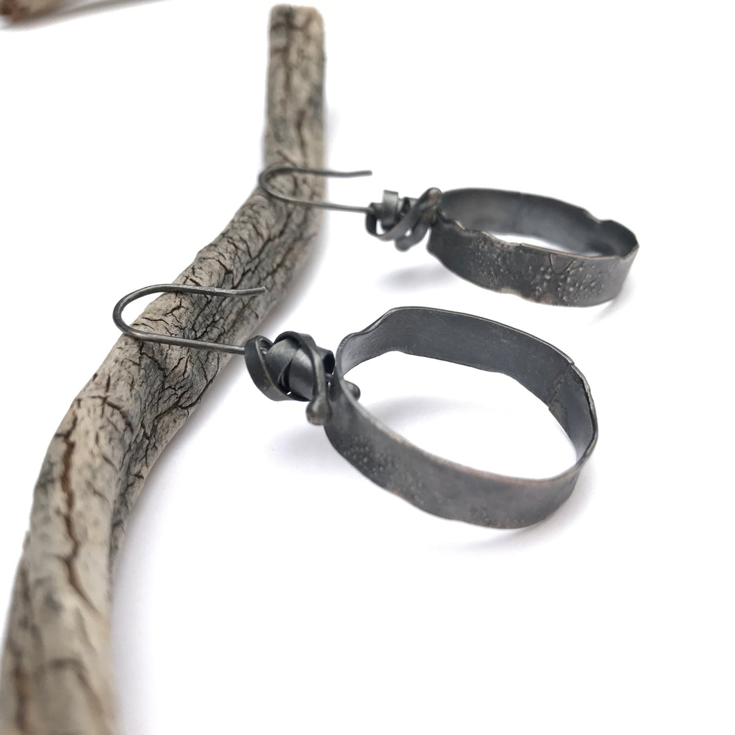 Oxidized silver hoop earrings - rustic silver earrings - unique black hoops - modern hoop earrings - lightweight hammered organic style