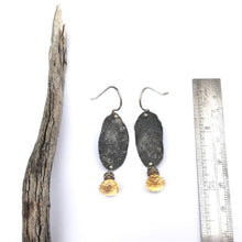 Load image into Gallery viewer, Citrine earrings with oxidized silver - rustic silver earrings - unique oval earrings - black and yellow gemstone - organic wabi sabi design